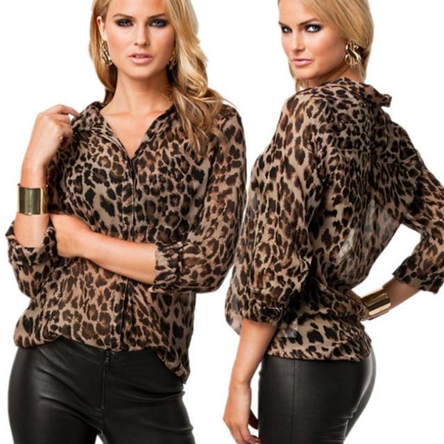 8d755b870 Novas mulheres blusas sheer 2018 oncinha estampa de leopardo blusa de  chiffon de manga comprida camisa