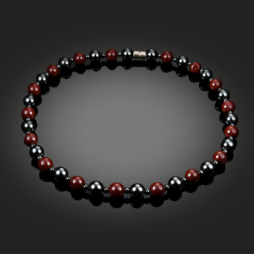 Magnetic  Unisex Hematite Necklace With Magnetic Therapy Black Red Health Women Men Jewelry Beads men beaded bracelet red