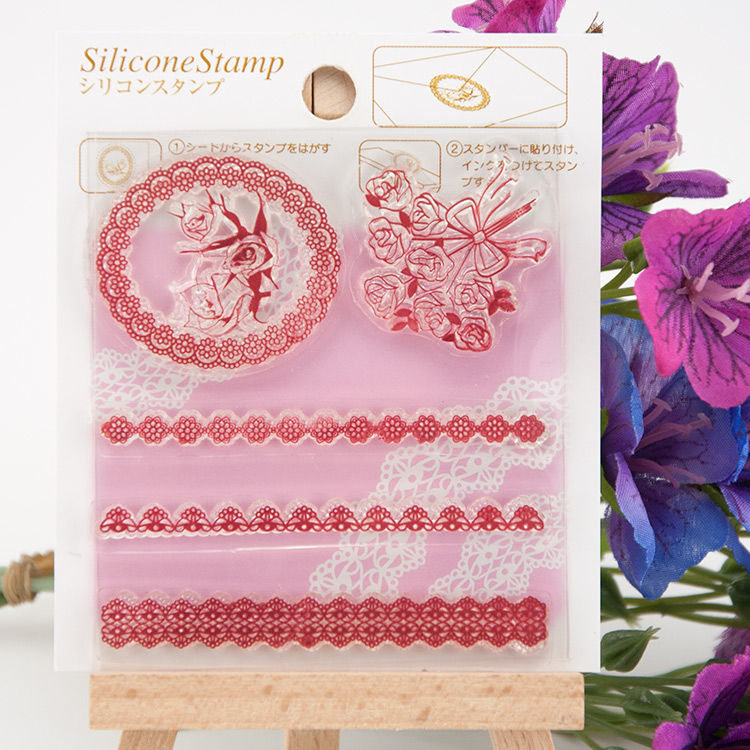 Flower Rose lace Transparent Clear Silicone Stamp/Seal for DIY scrapbooking/photo album Decorative clear stamp sheets handwork lovely animals and ballon design transparent clear silicone stamp for diy scrapbooking photo album clear stamp cl 278