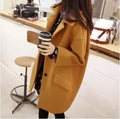 2017 de La Moda Coreana Mujeres de Gran Tamaño de Bolsillo de la Chaqueta de Un Solo Pecho Abrigo de Lana Sml XL 2XL 3XL 4XL