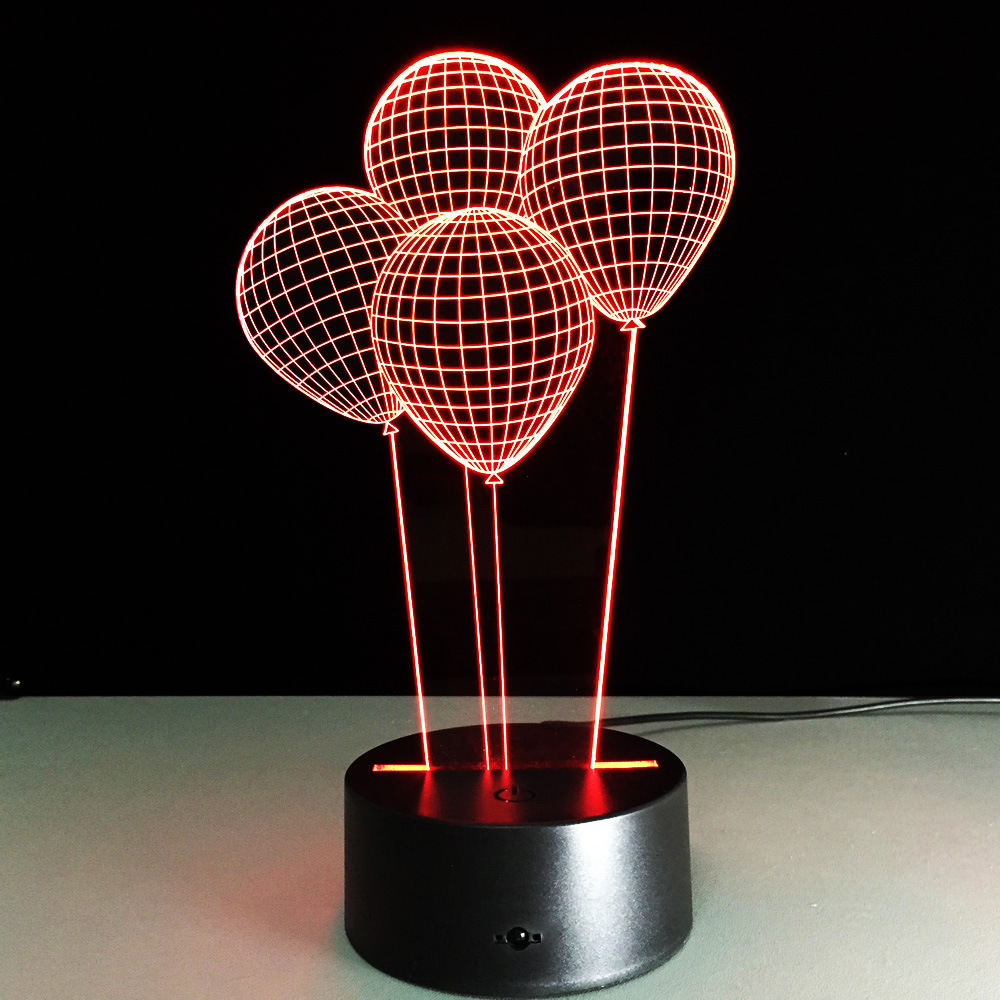 online buy wholesale acrylic lamp bases from china acrylic lamp  - creative d balloon illusion led acrylic wooden base desk table lamp rgbnightlight usb remote control