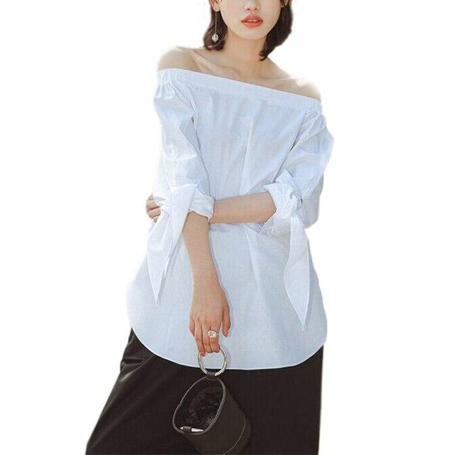 Women Shirts Blouses Elegant Bow Off Shoulder Female Slash Neck Blouse Shirt Sexy Summer Women Tops Striped Blusas