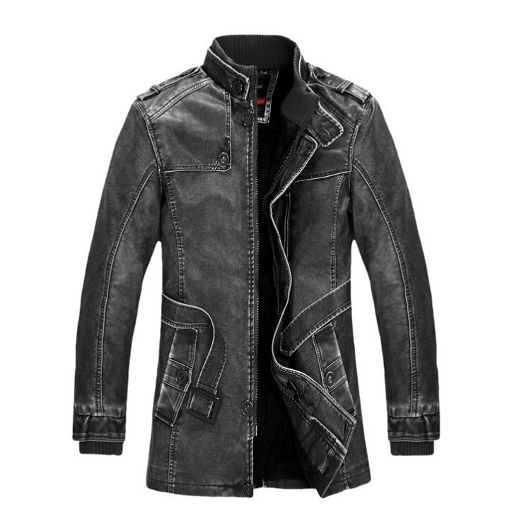 Brand Leather Jacket Men Winter Bomber Motorcycle Washed Leather Jackets And Coats Mens Stand Collar Plus Size 4XL thick Coat