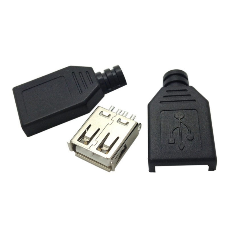 10 Pcs Type A Female USB 4 Pin Plug Socket Connector With Black Plastic Cover New Arrival 5pcs a type male usb connector 4pin plug socket connector with black plastic cover