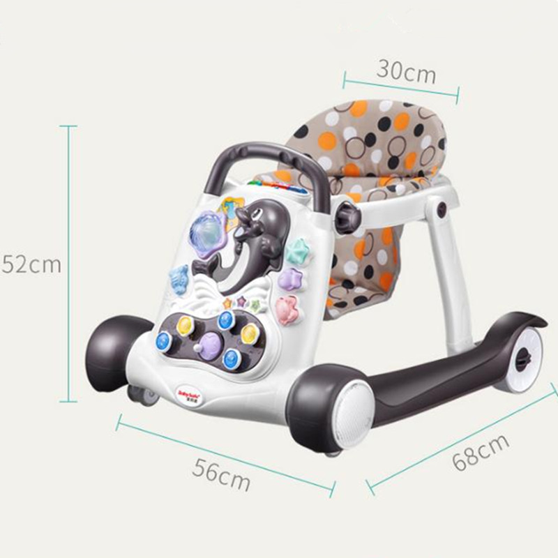 Safety baby walker anti-rollover multi-function with music baby 6/7-18 months hand push can sit children's walker 2018 hot