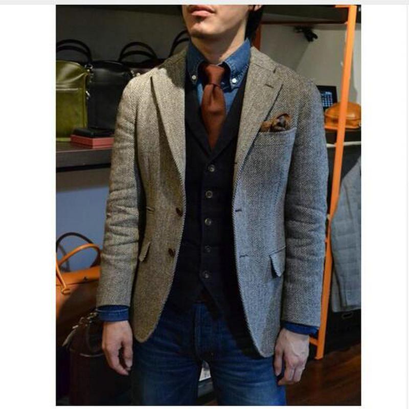 Tailored Vintage Gray Mens Tweed Jackets Men Blazer Men Jacket Leisure Business New Style Blazer Classical Fashion Suit Jackets
