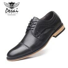 DESAI Mens Dress Shoes Genuine Cow Leather Brogue Wedding Men Casual Flats Black Burgundy Oxford For