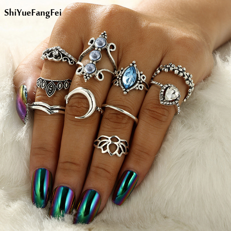 10ps/set Bohemian Antique Silver Mermaid Tail Compass Yoga Water Drop Hollow Carved Crystal Women Ring Set Unicorn Carved Rings