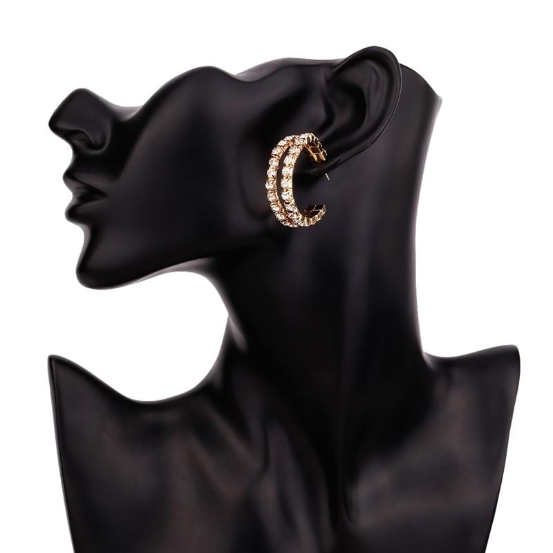 Fashion Big Round Alloy Earrings Bohemian Statement Luxury Crystal Rhinestone Earring for Women Wedding Jewelry in Hoop Earrings from Jewelry Accessories