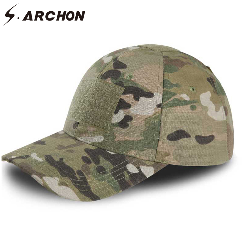 S.ARCHON Adjustable Multicam Military Camouflage Hats For Men Airsoft Snapback Tactical Baseball Caps Paintball Combat Army Hats