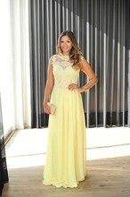 Heißer Gelb Lange Chiffon Abendkleider Durchsichtig Perlen Spitze Kleid für Prom Night Schöne Graduation Kleid