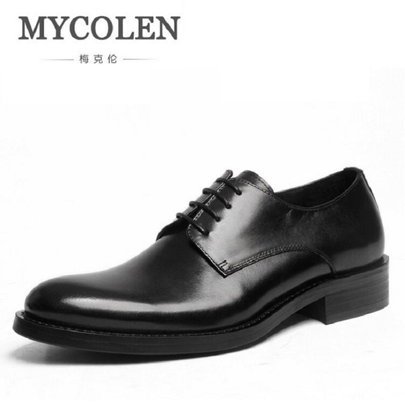 MYCOLEN New 2018 Business Dress Men Formal Shoes Wedding Round Toe Genuine Leather Shoes Flats Derby Shoes Men Sapato Masculino new 2017 black leather men dress shoes men s flats formal business shoes wedding dresses shoes oxford shoes slip on round toe