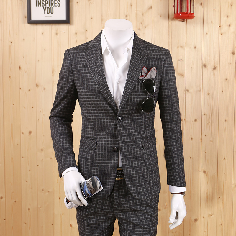 Men Clothing 2018 New Arrival Spring Autumn Grey Small Plaid England Style Casual Business Slim Suits Fashion Men Blazer Leisure
