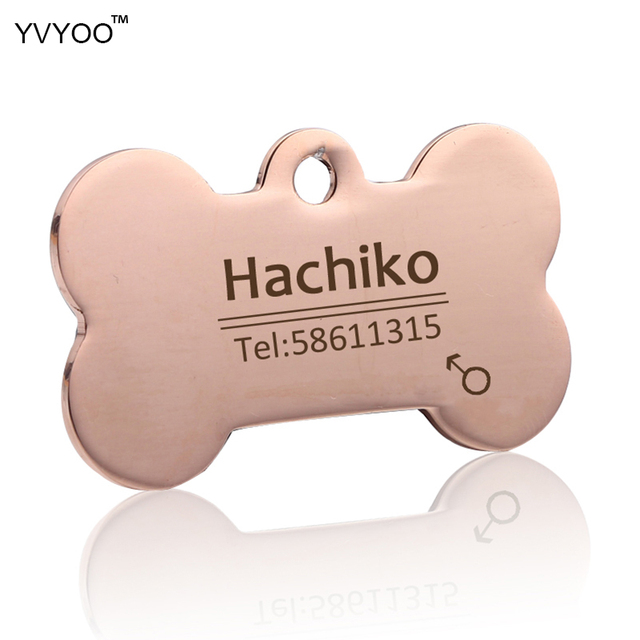 YVYOO Free engraving Multiple languages Pet cat dog collar accessories Stainless steel ID tag customized tag name telephone B02