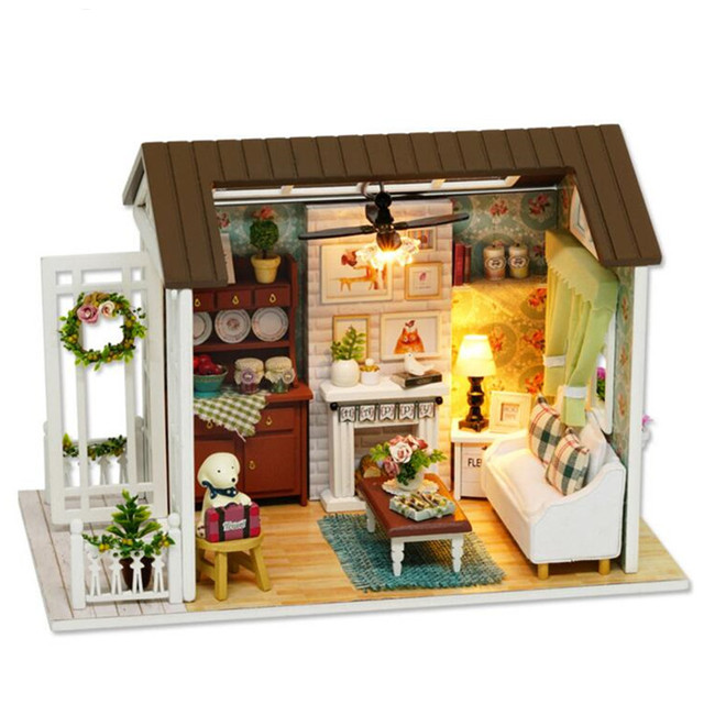 """""""Happy Times"""" DIY Wooden Toy House Miniature 3D Wood Puzzle Dollhouse Miniaturas Furniture House Doll For Birthday Gift Toys"""