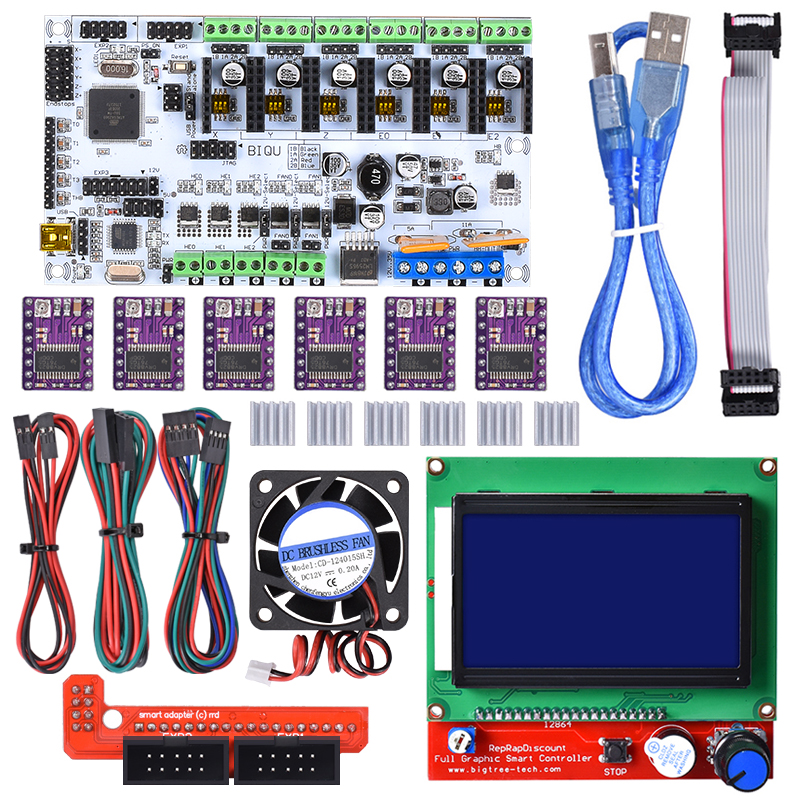 BIQU 3D printer Rumba control board DIY+12864 LCD controller display+4015 fan+jumper wire+DRV8825 Driver for reprap 3D printer diy biqu rumba 3d printer rumba control board lcd 12864 controller display jumper wire a4988 driver for reprap 3d printer kit103