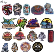 Pulaqi Jurassic Park Star War Skull Punk Iron On Patches For Clothes T-shirt Overcoat Strange Things Patch Men Decoration F