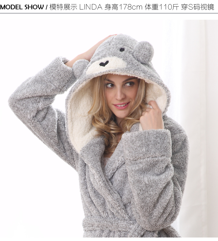 UK Brand EUR size for woman winter bear hooded soft warmth long ... 8e473fdef