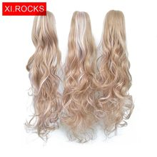 Xi Rocks Synthetic Claw Ponytail Hair Extension Fake Ponytail Claw Hairpiece For Women Ombre Blonde Tail Hair Extension Hair Wig(China)