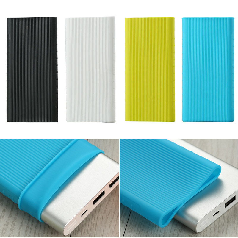 Anti-slip Silicone Protector Case Sleeve For Xiaomi Power Bank 2 10000 MAh Dual USB PLM09ZM Rubber Cover Power Bank Accessory