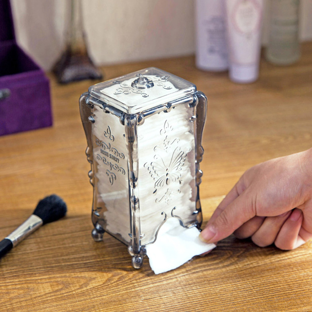 NEW Q Tip Storage Holder Box Transparent Cotton Swabs Stick Cosmetic Makeup  Organizer Case Office