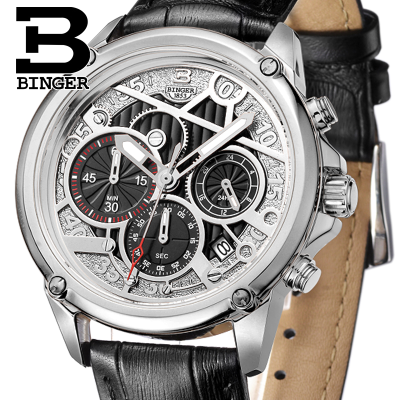 BINGER Quartz men watches Switzerland mens watch luxury brand Wristwatches Genuine Leather Chronograph Diver glowwatch B-6008-2BINGER Quartz men watches Switzerland mens watch luxury brand Wristwatches Genuine Leather Chronograph Diver glowwatch B-6008-2