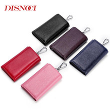 купить DISNOCI Vintage Genuine Leather Key Wallet Women Key chain Covers Buckle Key Case Bag Men Key Holder Housekeeper Keys Organizer по цене 547.78 рублей