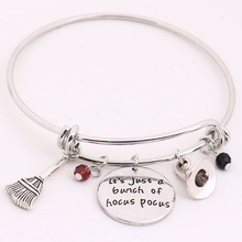 Hocus Pocus BangleIt's just a bunch of Hocus PocusLetter Pendant with Crystals Silver Bracelet Halloween Cosplay Jewelry тимур саед шах фокус pocus