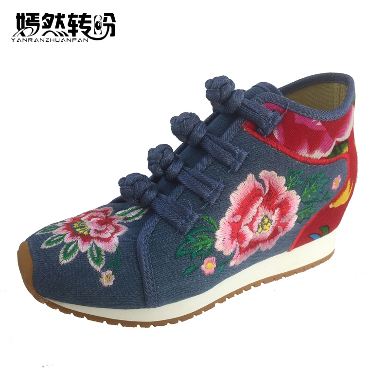 New Arrive Chinese Old BeiJing Embroidery Shoes Tourism Floral Embroidered Shoes Singles Walking Dance Soft Shoes Size 34-40 women flats summer new old beijing embroidery shoes chinese national embroidered canvas soft women s singles dance ballet shoes
