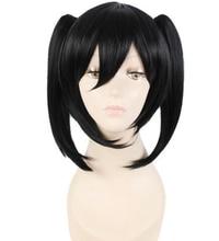 Anime cosplay peluca de cola de caballo negro peluca cosplay peluca negro pelo