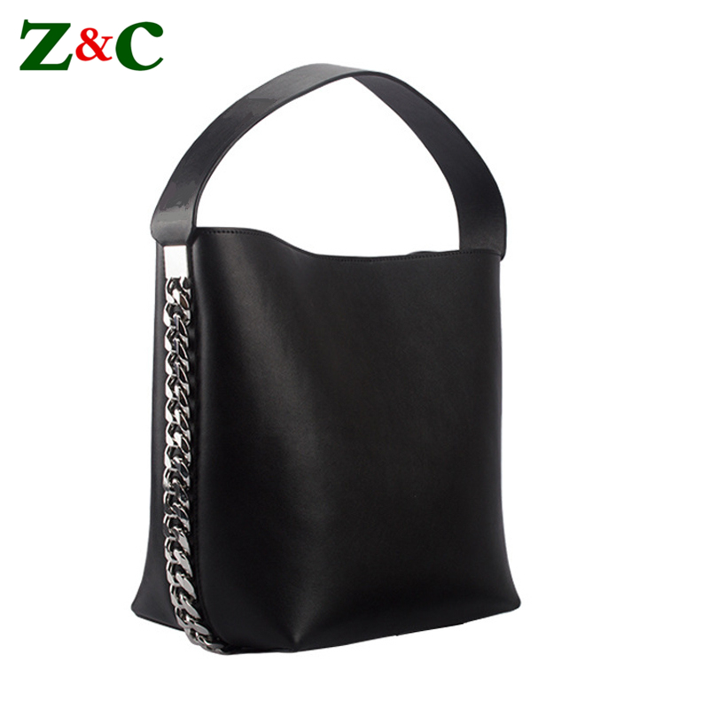 Luxury Brand Women Big Chain Bucket Bags Female Leather Shoulder Bags Famous Designer Solid Tote Bag