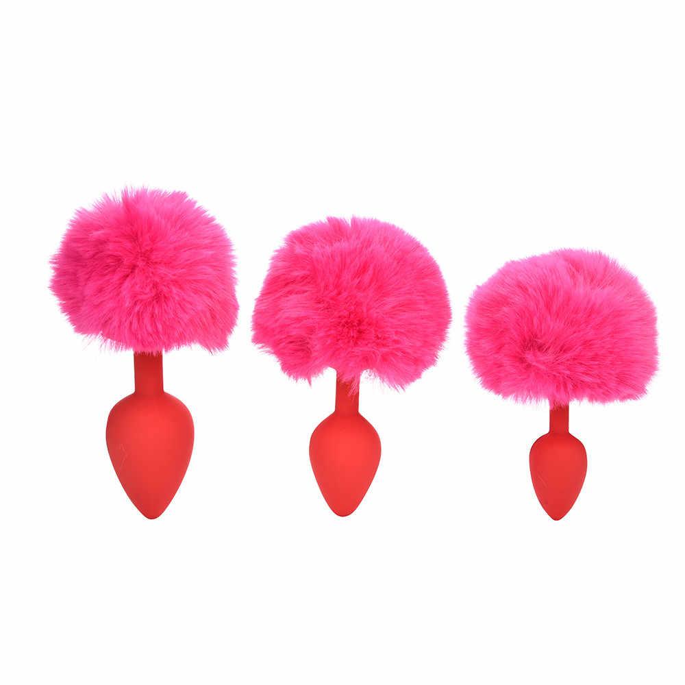 Plugue anal silicone brinquedos sexuais 3 NoEnName_Null Pcs Cauda de Coelho Plugue Anal Com Pompom Nascimento Pedra Drop Shipping CSV O0108 #30