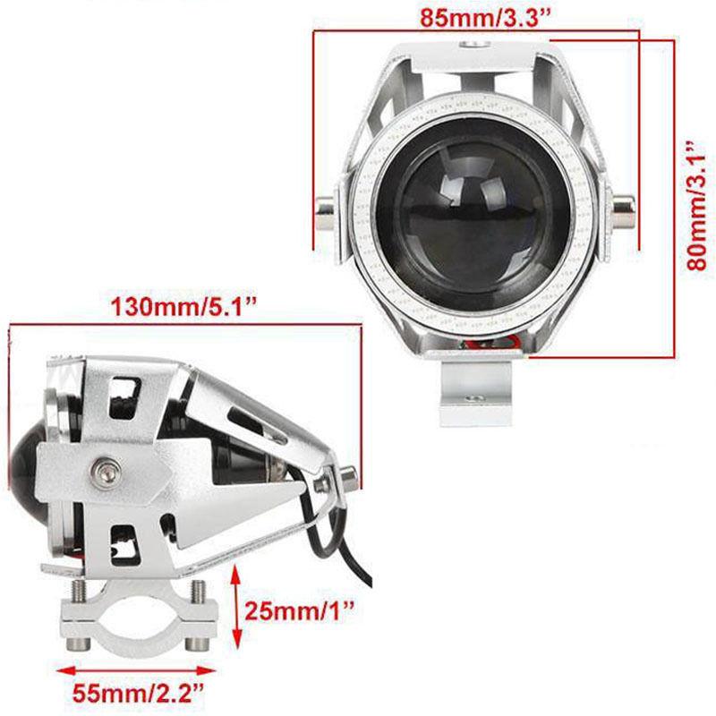 2 x High Power U7 Angel Devil Eye Light 125W Motorcycle LED Fog Spot light + 1pc switch as gift for U7 Light (1)