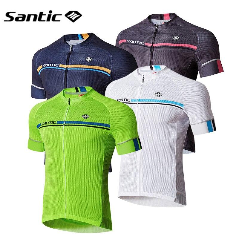 Santic cyclisme maillot court hommes été Pro Fit vélo de route vtt manches courtes haut Motocross course chemise Sport vêtements Roupa