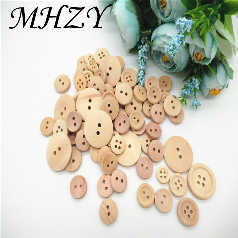 50Pcs 2 Holes Wood Baby Handmade Wooden Buttons Sewing Scrapbooking DIY Craft