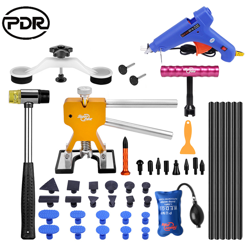 PDR Tools To Remove Dents Repair Kit Auto Tools Car Dent Repair Puller Bridge Glue Gun Adhesive Aluminum Pen Lock Opening Tools pdr toolkit auto repair tool to remove dents car body repair paintless dent repair pulling bridge 12 v glue gun