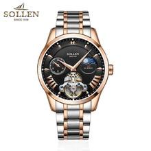 SOLLEN Men Mechanical Watches Role Luxury Brand Skeleton Full Steel Wrist Waterproof Watch Men Clock Male Reloj Hombre все цены