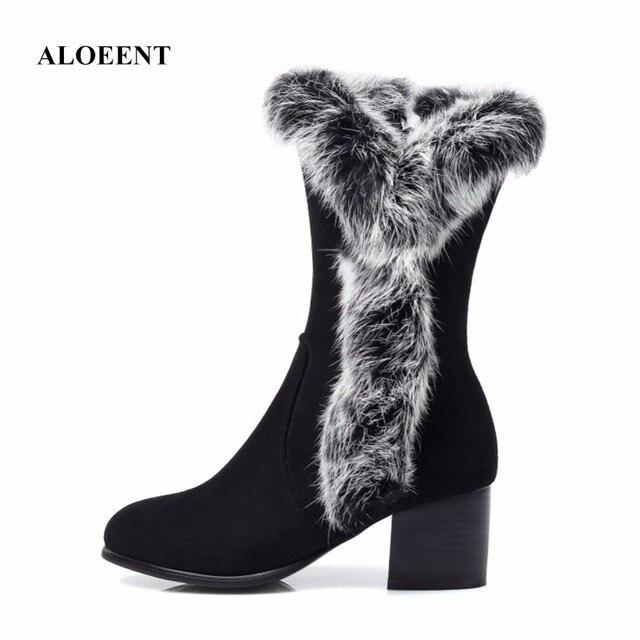ALOEENT Réel De Fourrure De Lapin Bottes Femmes Chaussures D'hiver Chaud Neige Bottes Talons Carrés Bottes de Femme