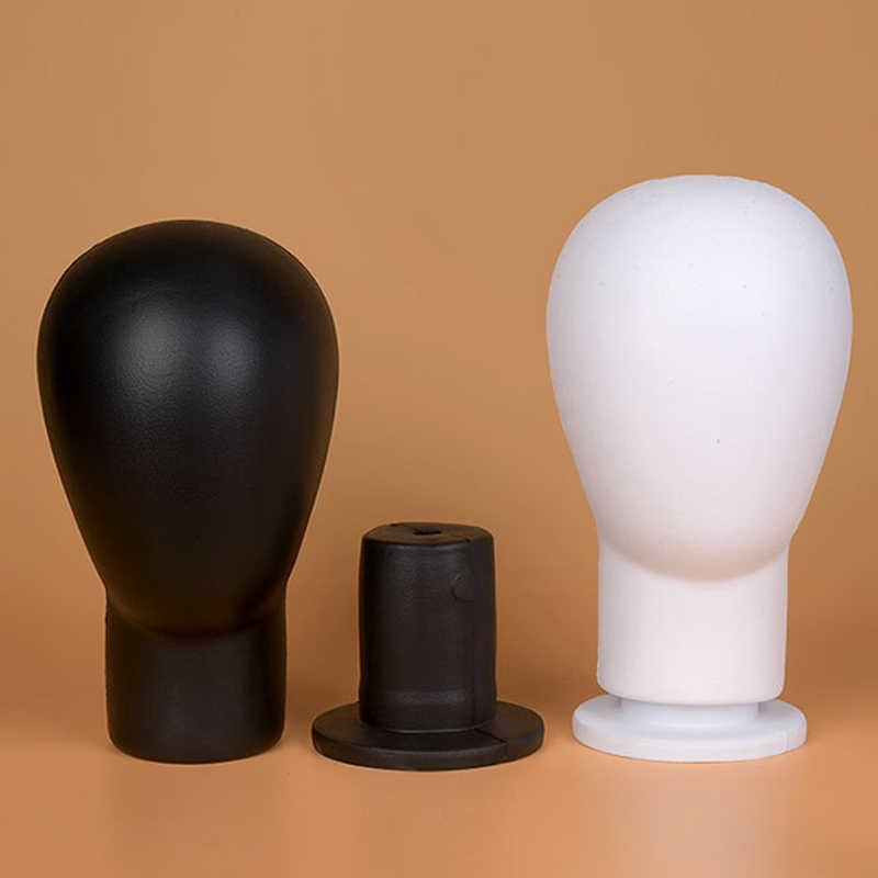 Nova quente do bloco do plutônio cabeça de espuma manequim perucas chapéus cabelos óculos exibição modelo suporte preto para perucas showcase itens manequim cabeça