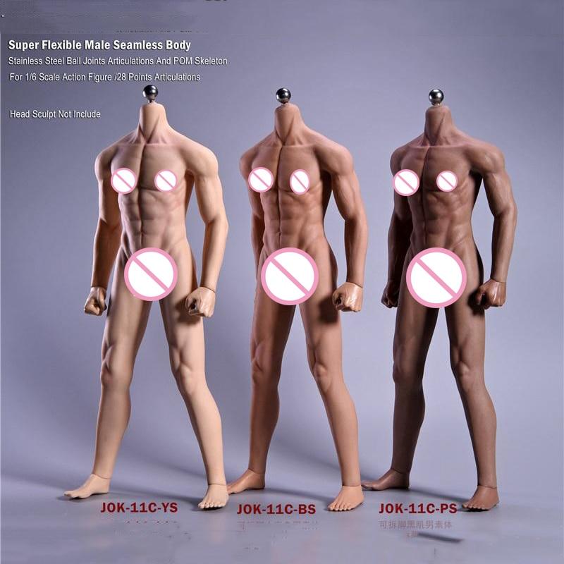 1/6 skala 12''Ultra elastyczne mięśni mężczyzna bez szwu ciała Stainlee stalowy szkielet człowieka jak skóra ciała dla 1/6 głowy w Figurki i postaci od Zabawki i hobby na  Grupa 1