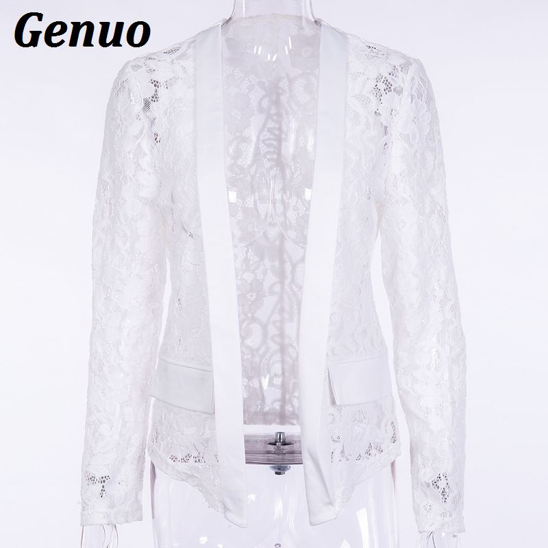 Genuo Women Elegant Blazer 2019 Autumn Sheer Lace Floral Coat Patchwork Jacket Femininas Slim Formal Party Nigh Clubwear Outfits