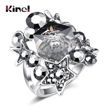 Kinel Unique Punk Rock Ring Antique Silver Geometric Crystal Star Element Rings For Women Vintage Wedding Jewelry Accessories