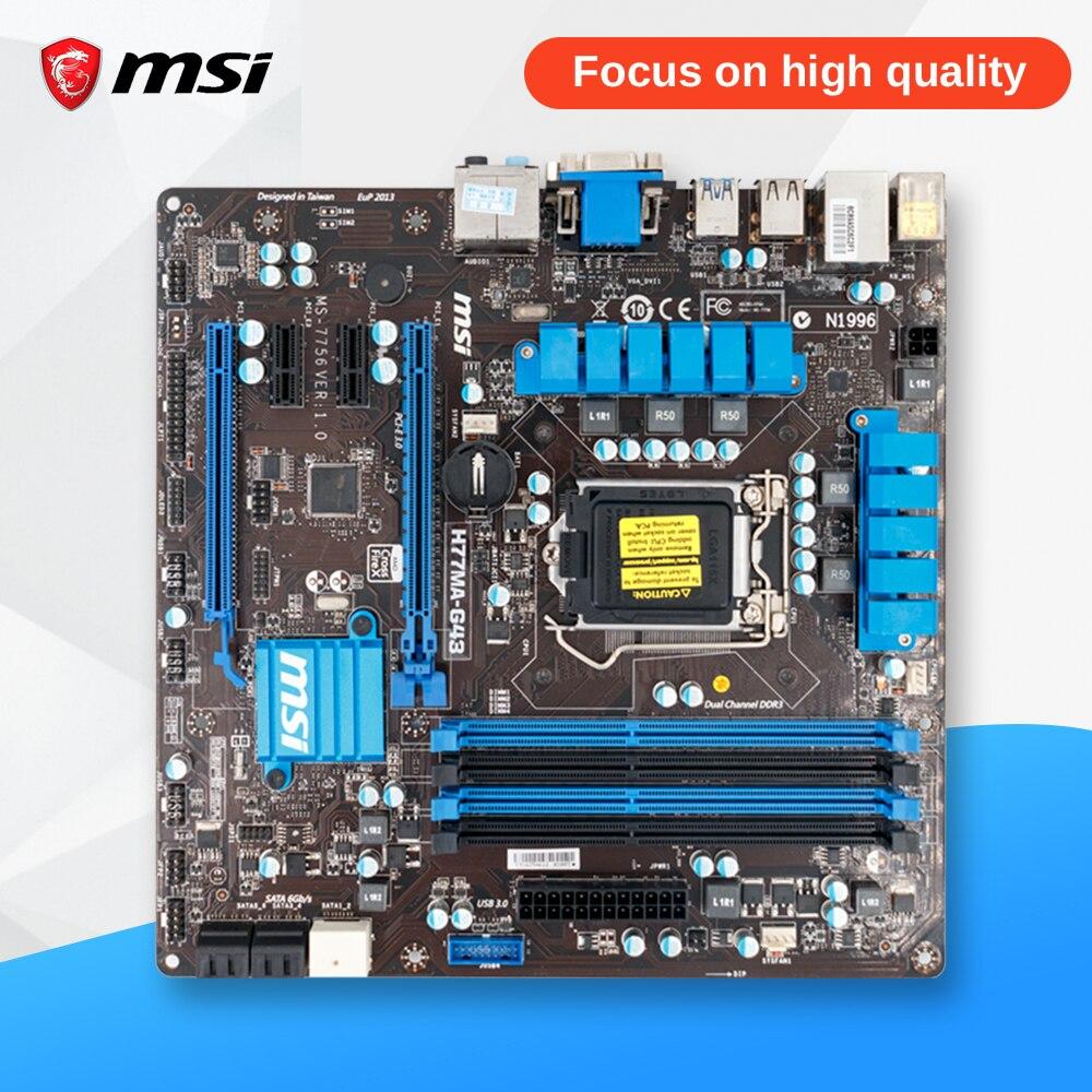 MSI H77MA-G43 D'origine Utilisé De Bureau Carte Mère H77 Socket LGA 1155 i3 i5 i7 DDR3 32G SATA3 Micro-ATX