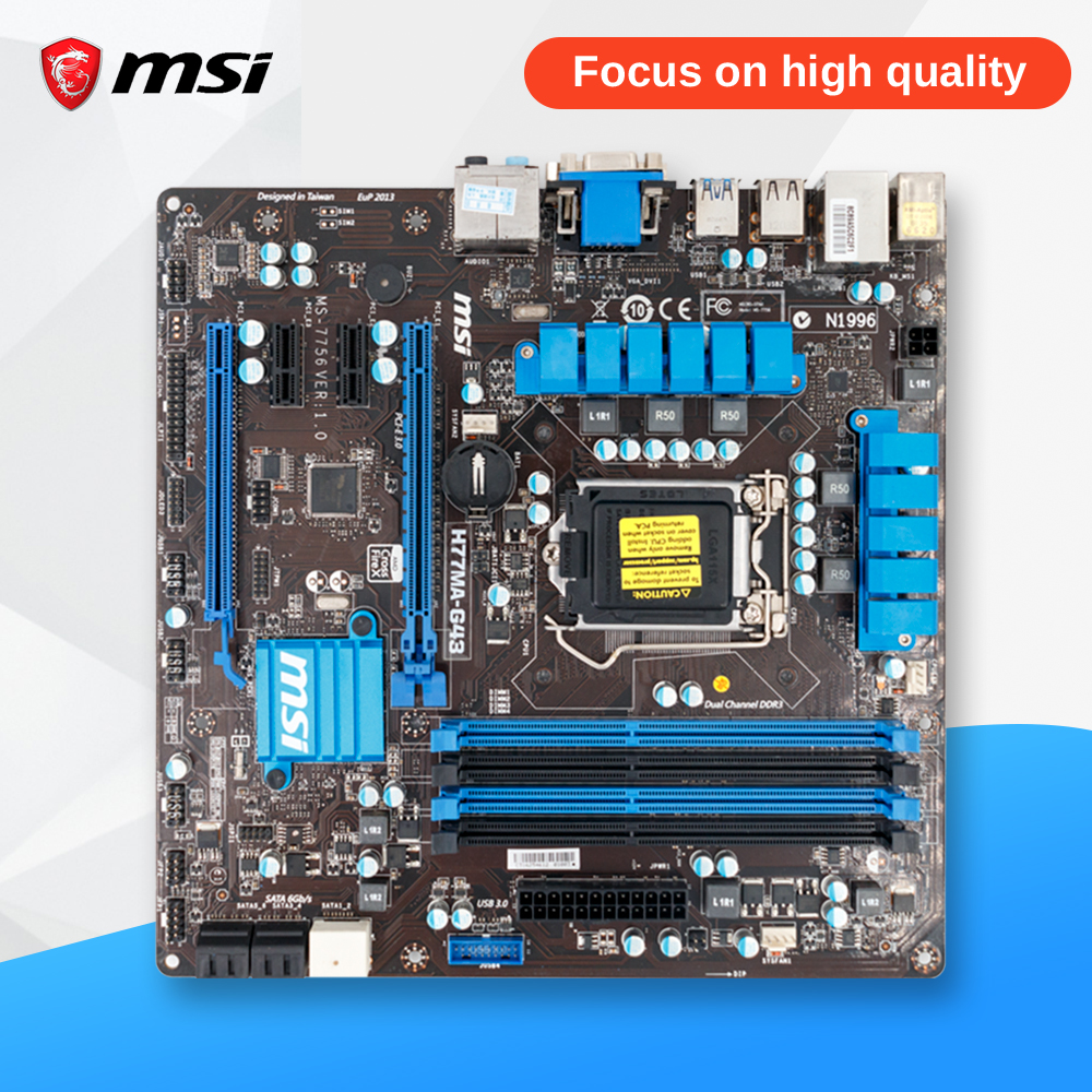 MSI H77MA-G43 Original Used Desktop Motherboard H77 Socket LGA 1155 i3 i5 i7 DDR3 32G SATA3 Micro-ATX used for asus p8h77 m pro original used desktop motherboard h77 socket lga 1155 i3 i5 i7 ddr3 32g sata3 usb3 0