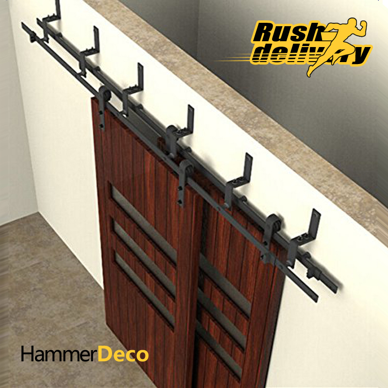 Wonderful 5FT/6FT/6.6FT/7.5FT/8FT/10FT Black Bypass Rustic Sliding Roller Barn Double  Wood Door Hardware Closet Track Kit Set In Doors From Home Improvement On  ...