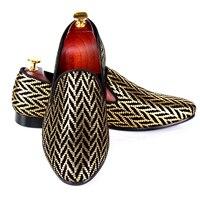 Harpelunde Brand Men Shoes Gold Printed Black Velvet Loafers Fashion Dress Shoes Size 7 14