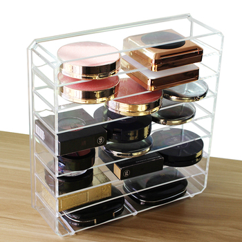 HUNYOO Acrylic Makeup Organizer for Storage of Variety of Beauty Items including Lipstick Foundation Mascara with cabinet and display Shelf