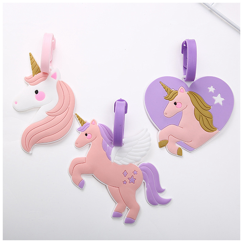 Travel Accessories Unicorn Cute Pink Suitcase Luggage Tag ID Address Holder Baggage Label Organizer Silica Gel Women Identifier(China)