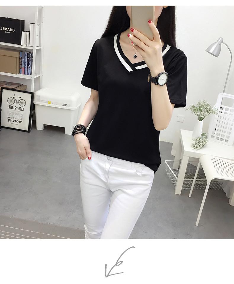 4XL 5XL Plus Size Korean Women's Clothing Fashion Big Size T-shirt Female V neck Short Sleeve Casual obesity Tee Shirt Top Femme 42