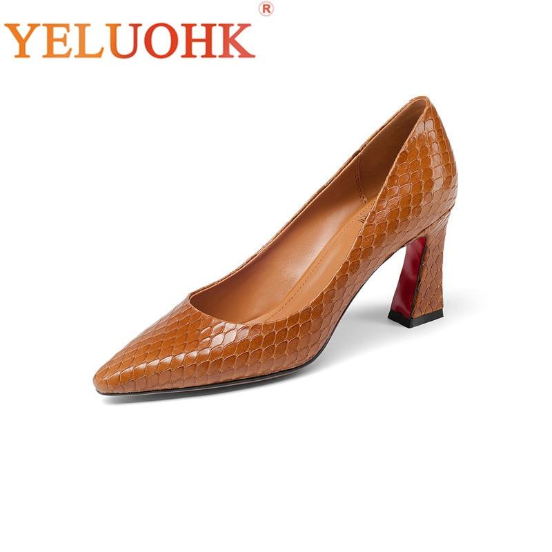 33-43 Genuine Leather Shoes Women Heels Big Size Women Pumps Top Quality High Heels 7.5CM цена